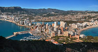 Aerial drone view picturesque photo from above Calpe cityscape salt lake