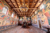 Calistoga, California - April 27, 2019: The Great Hall in Castello Di Amorosa.