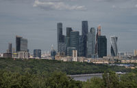 Russia, Moscow, view on river and new city complex