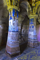 Pillars adorned with frescos, rock-hewn church Abuna Gebre Mikael at Koraro,Gheralta,Tigray,Ethiopia