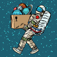 space exploration concept. astronaut takes the planet in a box