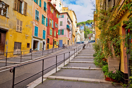 Town of Nice romantic french colorful street architecture view