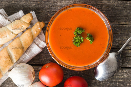 Cold gazpacho soup.