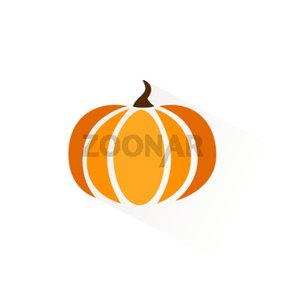 Pumpkin icon with shadow. Flat vector illustration