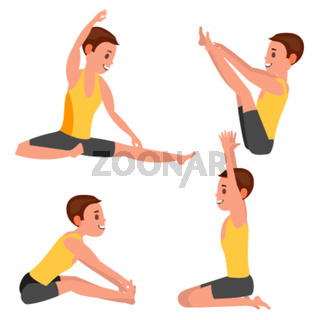 Yoga Male Vector. In Action. Meditation Positions. Flexible Girl. Cartoon Character Illustration