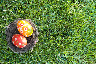 Easter eggs in the nest on green spring grass. Flat lay shot, space for text.