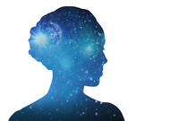woman silhouette of space over white background