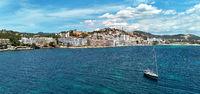 Aerial photo Santa Ponsa small touristic hillside resort town, Majorca, Spain