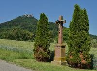 wayside cross, stone cross, castle Hohenzollern; Germany