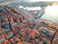 flight over  the harbor of Ancona Italy
