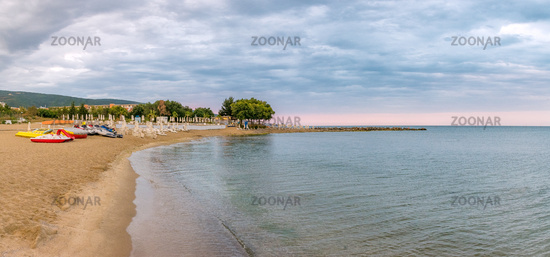 Sunrise at the beach in Sunny Beach on the Black Sea coast of Bulgaria. Panoramic view