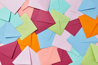 Multi colored craft envelopes pattern as a background.