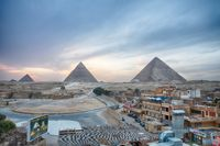 View on the town and the Great Pyramids in the evening