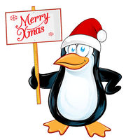 pinguin Santa Claus with merry christmas signboard. Isolated  illustration