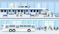 Public bus transport illustration
