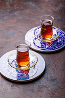 Traditional Turkish black tea in glass