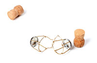 Two corks from champagne wine and muselets