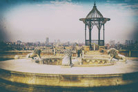 A fountain with lions and a rotunda in Cairo Citadel, retro style picture