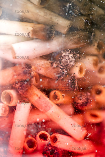 Ashes and joins from medical cannabis in glass macro background fifty megapixels