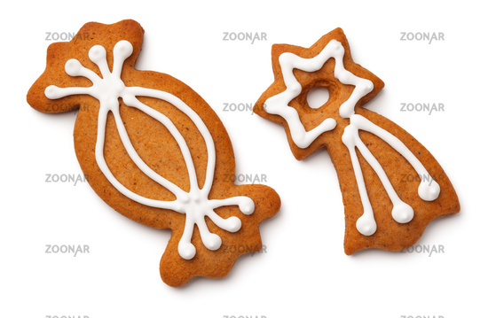 Photo Christmas Gingerbread Cookies Isolated On White Background