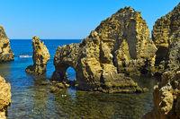 Rock formation at the Camilo beach, Praia do Camilo, Lagos, Algarve, Portugal