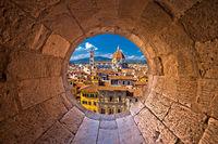 Florence cathedral di Santa Maria del Fiore or Duomo view trhrough stone window