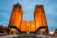 Outdoor night view of Oslo City Hall in Norway