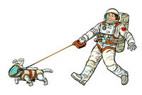 astronauts man and dog isolated on white background