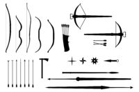 Silhouettes of throwing weapons of different countries and eras - vector set