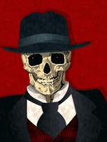Watercolor mobster skull