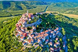 Idyllic hill town of Motovun aerial view