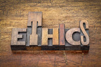 ethics word abstract in vintage wood type