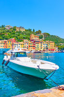 Speedboat in the bay in Portofino