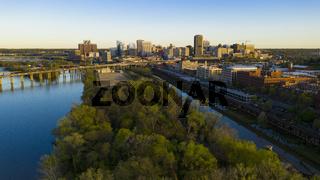Early Morning Light Downtown City Skyline Riverfront Park Richmond Virginia