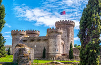 the Rocca Pia castle fortress in Tivoli - Italy during a sunny spring day - a landmark near Rome in Lazio
