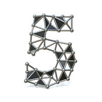 Wire low poly black metal Number 5 FIVE 3D