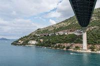 Underside of new bridge in the port of Dubrovnik in Croatia