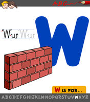 letter W educational worksheet with wall
