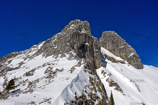 Peaks Les Jumelles, Twins, aerial shot, Taney, Vouvry, Valais, Switzerland