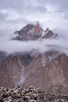 Trango Towers in clouds