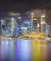 Illuminated  Singapore Downtown Core skyline