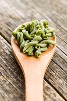 Uncooked spinach gemelli pasta.