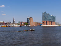 View from southern banks of Elbe River at Hamburg Harbor and Hafencity at fine weather.