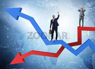 Businessman with charts of growth and decline