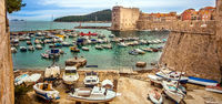 Dubrovnik, Croatia on March 04, 2018 View of the old Town and the Harbor