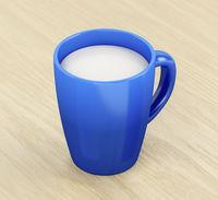 Milk in blue mug