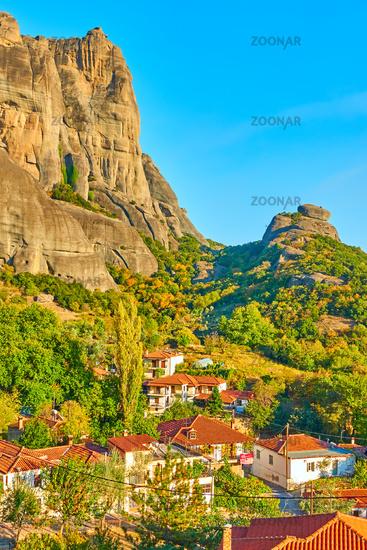 The Meteora rocks and roofs of Kalambaka town