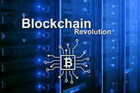 Blockchain revolution, innovation technology in modern business.
