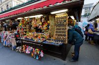Souvenir shop at Havel Market in second week of Advent in Christmas