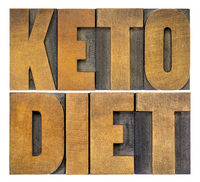 keto diet word abstract in wood type